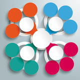 Colored Circle Cross Infographic Flower PiAd. Infographic design with colored and white circles on the grey background. Eps 10 file Stock Illustration