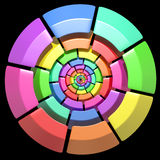 Colored circle. 3d rendering of a divided and colored circles on a black background Royalty Free Stock Photo