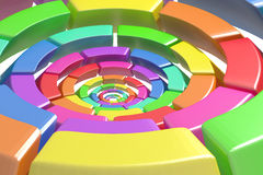 Colored circle. 3d rendering of a divided and colored circles, concept of connection Stock Photography