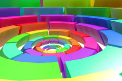 Colored circle. 3d rendering of a divided and colored circles, concept of connection Royalty Free Stock Photo