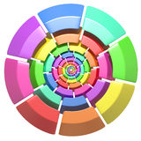 Colored circle. 3d rendering of a divided and colored circles on a white background Royalty Free Stock Image