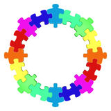 Colored circle jigsaw puzzle. 3D rendered illustration Royalty Free Stock Image