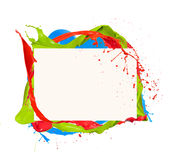 Colored circle. Paint splashes circle isolated on white background stock images