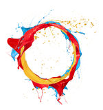 Colored circle. Paint splashes circle isolated on white background stock photography