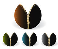 Colored circle zippers. Set of colored circle zippers , four golden zippers Stock Photos