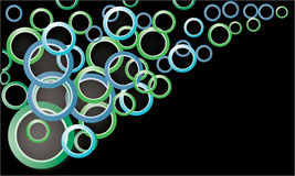 Colored circles on a black background. Vector Royalty Free Stock Images