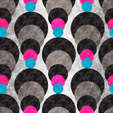 Colored circles on a gray background with illumination. Seamless geometric pattern.. Grunge effect. (vector eps 10 Stock Image