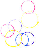 Colored circles made with paint Stock Images