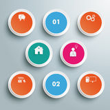 8 Colored Circles PiAd Stock Photography