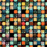 Colored circles and polygons abstract geometric background vector illustration Royalty Free Stock Photos