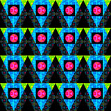Colored circles and polygons on a black background seamless abstract background Royalty Free Stock Image