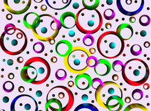 Colored circles and rings, abstract background.  Artwork for cre Stock Photos