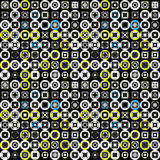 Colored circles and squares on a black background seamless pattern vector illustration. Vector royalty free stock illustration Stock Photo