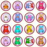 Colored circles with teddy bears stock image