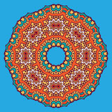 Colored circular ornament in Oriental style. Circular dish decoration in Morocco abstract style Royalty Free Stock Image