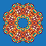 Colored circular ornament in Oriental style. Circular dish decoration in Morocco abstract style Royalty Free Stock Photography