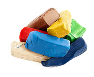 Colored clay. Large colored clay bricks molded together in desperation Royalty Free Stock Image