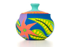 Colored clay pot Royalty Free Stock Photos