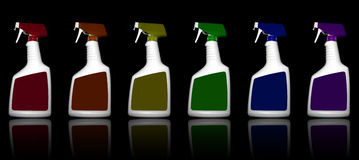 Colored Cleaning Bottles. A rainbow of cleaning bottles are lined up on a black reflective surface royalty free illustration