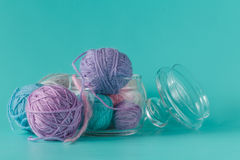 Colored clew of yarn for knitting Stock Photos