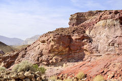 Colored cliff in Negev desert. Royalty Free Stock Photography