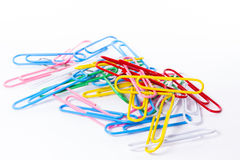 Colored clips. Over white background Stock Image