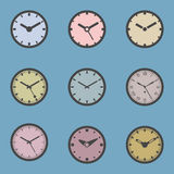 Colored Clock Icon Set -  Vector Illustration Royalty Free Stock Photos