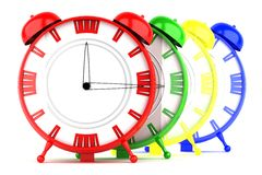 Colored clocks isolated on white background Royalty Free Stock Image