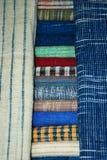 Colored cloth,linen textiles. Laos. Luang Prabang -  Laos, textiles for sale, colored cloth,linen textiles Stock Image
