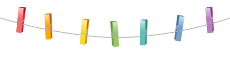 Colored Clothes Pins Clothes Line Rope Stock Images