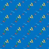 Colored clothes pins on a clothes line rope on blue background. Seamless pattern vector illustration