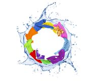 Colored clothes rotates in a swirling splashes of water on white. Background royalty free stock photography