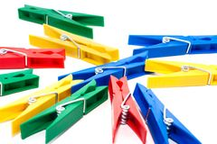 Colored clothespin Royalty Free Stock Images