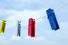 Colored clothespin close up. Colored clothespin  on clothes line close up Stock Photo