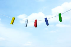 Colored clothespin. On clothes line Royalty Free Stock Photography
