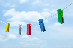 Colored clothespin. On clothes line Stock Image