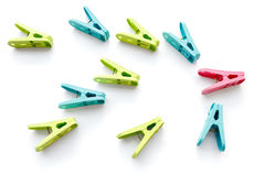 Colored clothespins Stock Images