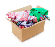 Colored clothing in a box Royalty Free Stock Photography