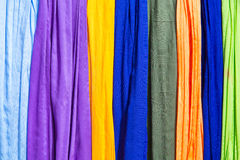 Colored cloths and silks from Morocco Stock Photography