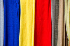 Colored cloths and silks from Morocco Stock Photos