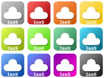 Colored cloud logos - infrastructure as a service stock illustration
