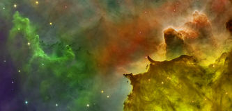 Colored clouds in Carina nebula. royalty free stock photos