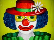 Paiting of a clown with blue curly hair, green eyes,red hat and green dress,on yellow background royalty free illustration