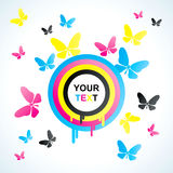 Colored CMYK circles  and butterfly Royalty Free Stock Photo