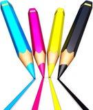 Colored cmyk pencils Stock Photos