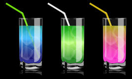 Colored cocktails in glass Stock Photos