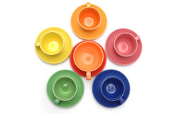 Colored coffee cups and dishes Stock Photo