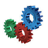 Colored cogs or gears working together Stock Images
