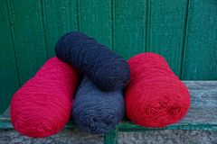 Colored coils of woolen thread Royalty Free Stock Images