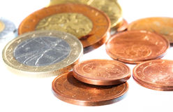 Colored coins Royalty Free Stock Photos